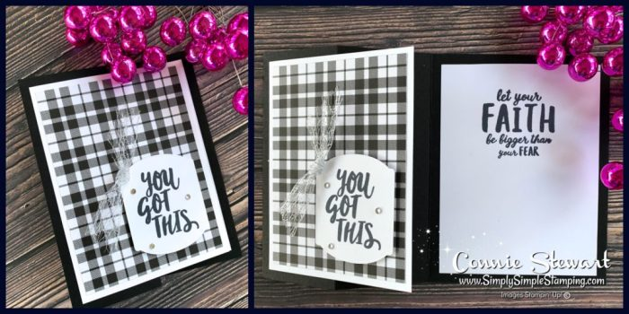 This fancy fold card has a classic look with the black plaid tidings paper and a simple greeting of encouragement