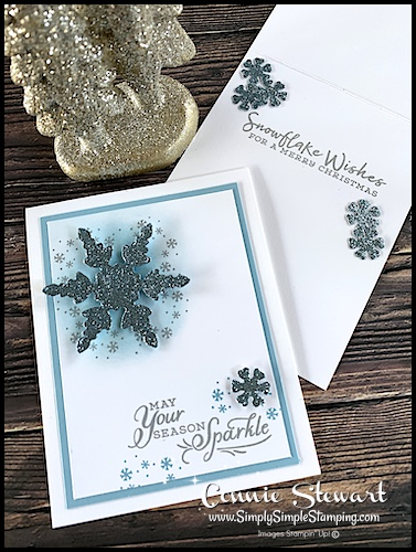 Sponged greeting cards really highlight the focal point of this blue snowflake