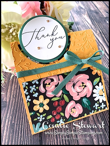 I made this circle pop out card as a thank you card with new designer series paper coming January 2021