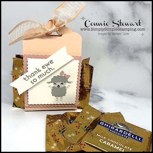 An adorable lamb with 'thank ewe so much' greeting for a fun chocolate box packaging idea.