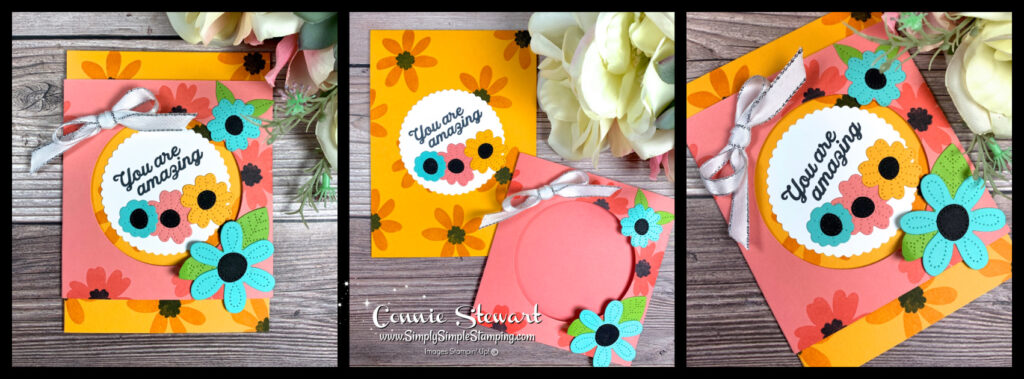 This fancy window card has a bit of a retro feel with mango melody and coastal cabana flowers