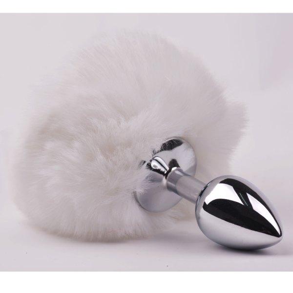 Tail Plug Cosplay Anal Plug With Fake White Bunny Tail