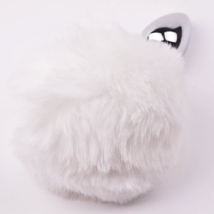 white cosplay bunny tail anal plug