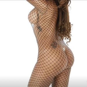 Black fishnet bodysuit left side