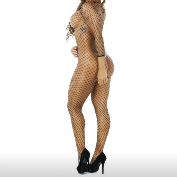 Black fishnet bodysuit back