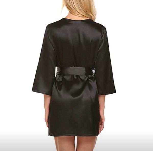 Sexy black robe back view