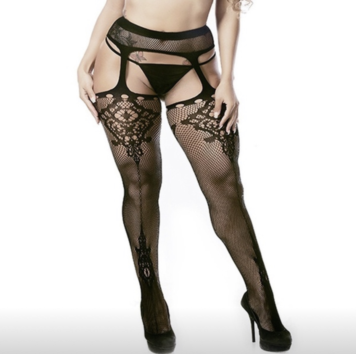 Sexy plus size fishnet tights