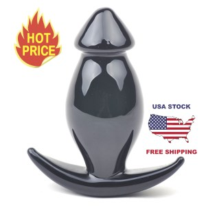 Black Fat Solid Glass Butt Plug Anal Sex Toy