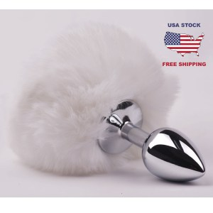 Tail Plug Cosplay Anal Plug With Fake White Bunny Tail