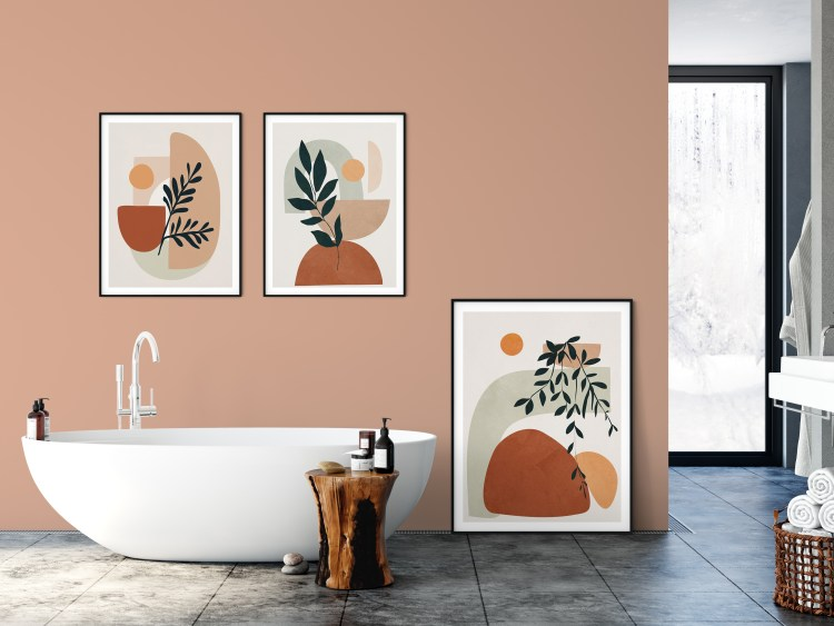 Showing Wall Color: 2021 Color of the Year Valspar Arizona Dust 2003-8A and featured artwork by City Art (from Left) Geometric Shapes, Soft Shapes IV, and Soft Shapes