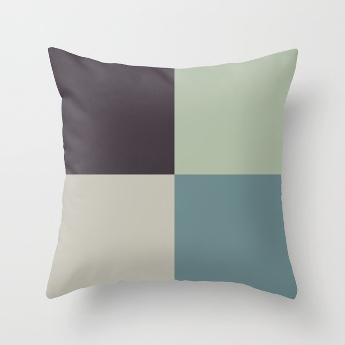 Blue-Green Tan Green Purple Geometric Pattern 2021 Color of the Year Aegean Teal and Accent Shades Throw Pillow