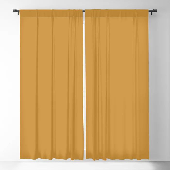 Cosy Deep Mustard Yellow Solid Color Pairs Farrow and Balls 2021 Color of the Year India Yellow 66 Blackout Curtain