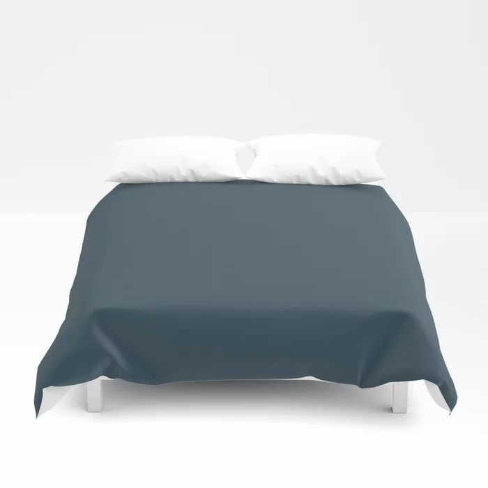 Dark Blue Grey Solid Color Pairs To Behr's 2021 Trending Color Nocturne Blue HDC-CL-28 Duvet Cover
