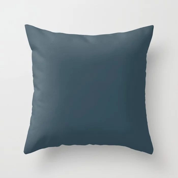 Dark Blue Grey Solid Color Pairs To Behr's 2021 Trending Color Nocturne Blue HDC-CL-28 Throw Pillow