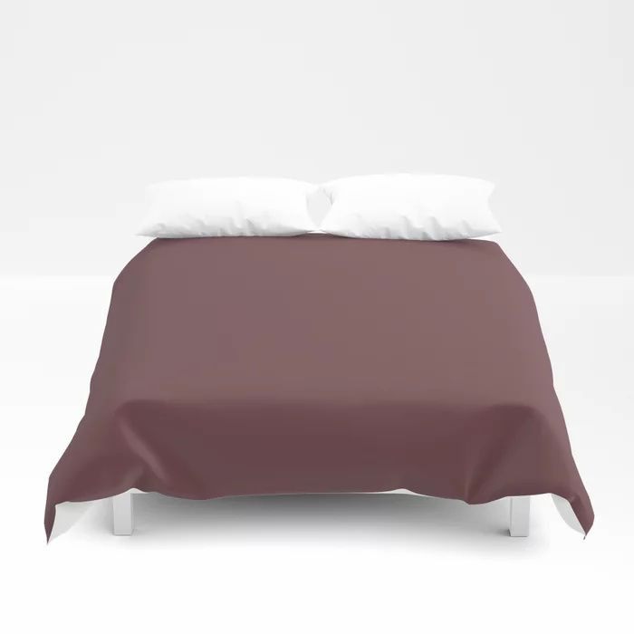 Dark Burgundy Red Solid Color Pairs 2021 Color of the Year Preference Red No.297 Duvet Cover
