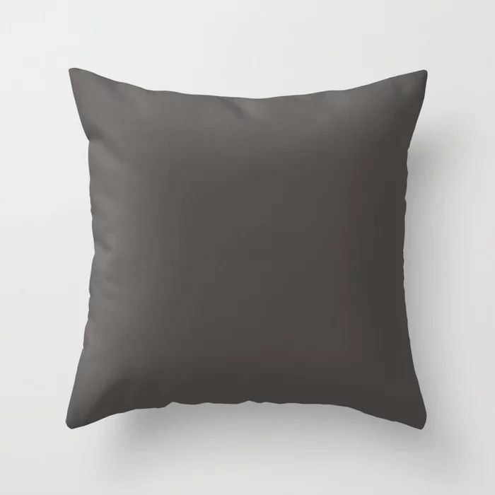 Dark Gray Brown Solid Color Pairs To Farrow and Ball Color of The Year Tanner's Brown No.255 Throw Pillow