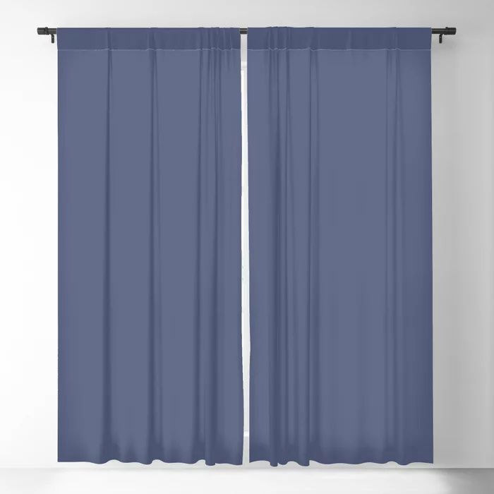 Dark Night Blue Solid Color Pairs Farrow and Ball 2021 Color of the Year Pitch Blue No.220 Blackout Curtain
