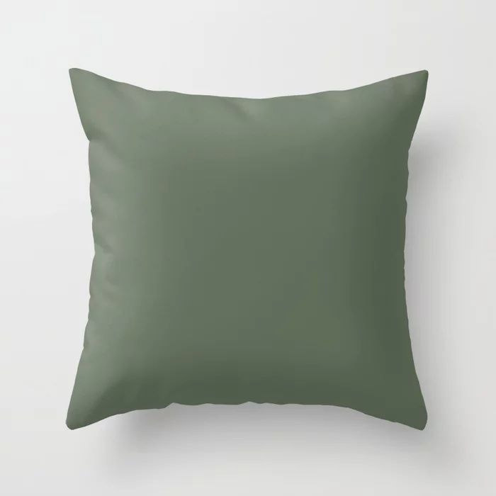 Dark Olive Green Solid Color Behr's 2021 Trending Color Royal Orchard PPU11-01 Throw Pillow