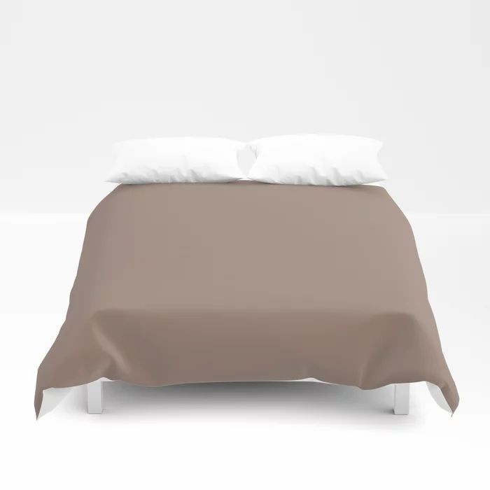 Dark Taupe Brown Solid Color Pairs To Behr's 2021 Trending Color Modern Mocha N150-4 Duvet Cover