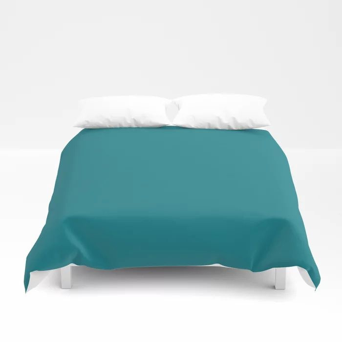 Dark Turquoise Solid Color Pairs To Behr's 2021 Trending Color Caribe PPU13-01 Duvet Cover