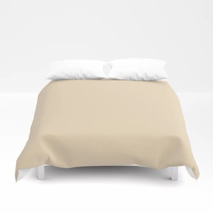 Delicate Pastel Peach Solid Color Pairs To Valspars 2021 Color of the Year Soft Candlelight 3005-6C Duvet Cover