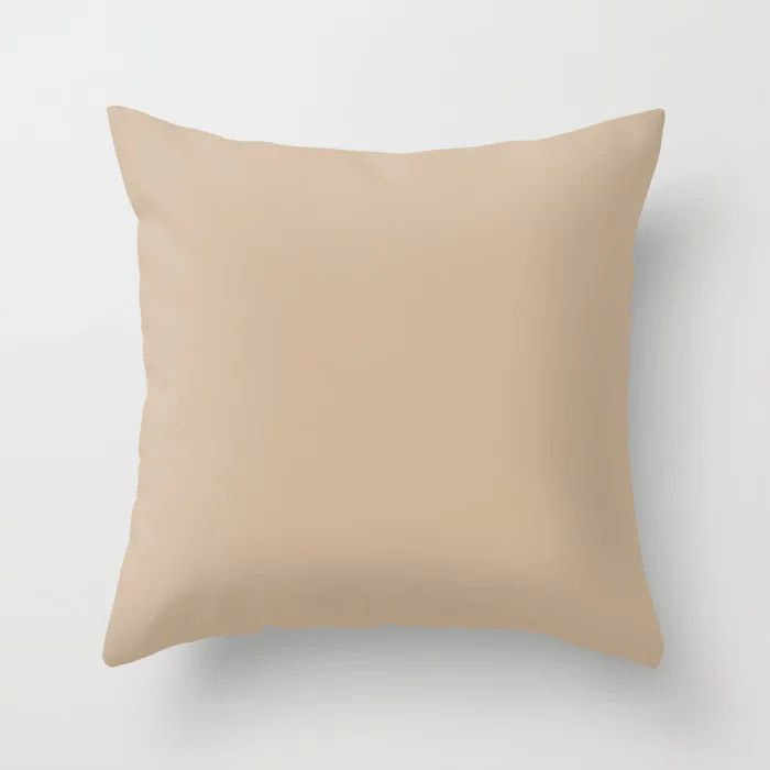 Down To Earth Beige Solid Color Pairs To Valspars 2021 Color of the Year Maple Leaf 2008-8B Throw Pillow