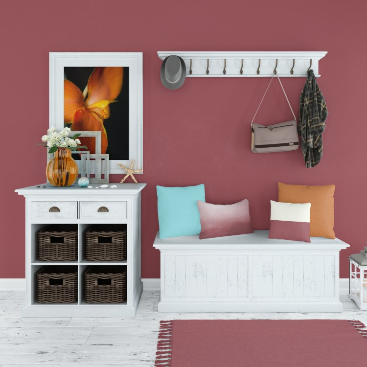 Showing wall color by HGTV / Sherwin Williams 2021 Color of the Year Passionate HGSW2032 and Accent Shades plus featured art by Melissa Fague PI Photography and Fine Art and matching home accents