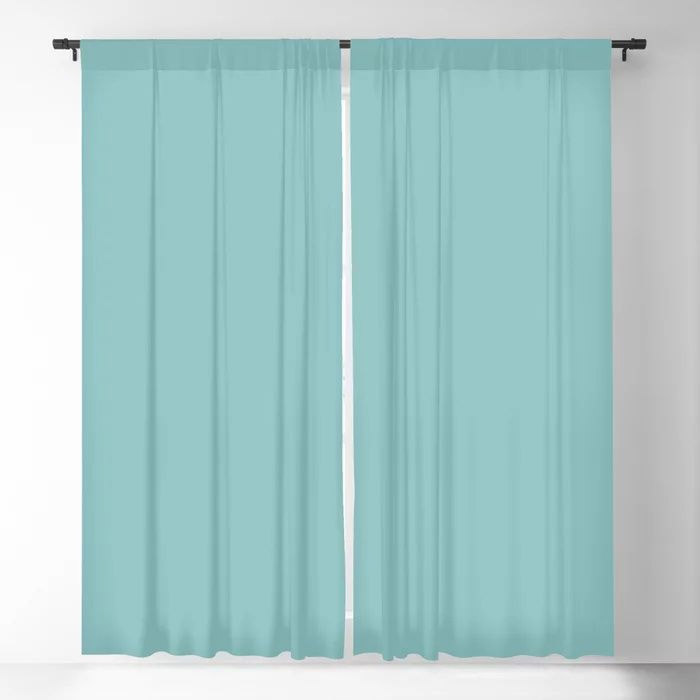 Mediterranean Breeze Aquamarine Solid Color Pairs To PPG 2021 Trending Hue Aqua Fiesta PPG1147-4 Blackout Curtain