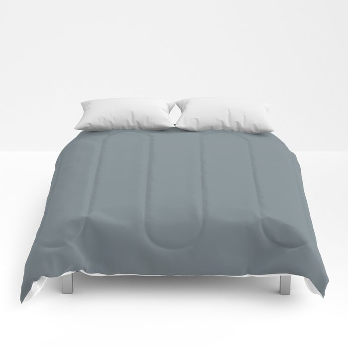 Mid Tone Slate Blue Grey Solid Color Pairs To Valspars 2021 Color of the Year Academy Gray 5001-2A Comforters