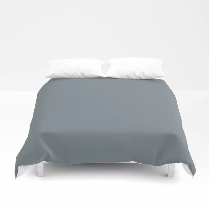 Mid Tone Slate Blue Grey Solid Color Pairs To Valspars 2021 Color of the Year Academy Gray 5001-2A Duvet Cover