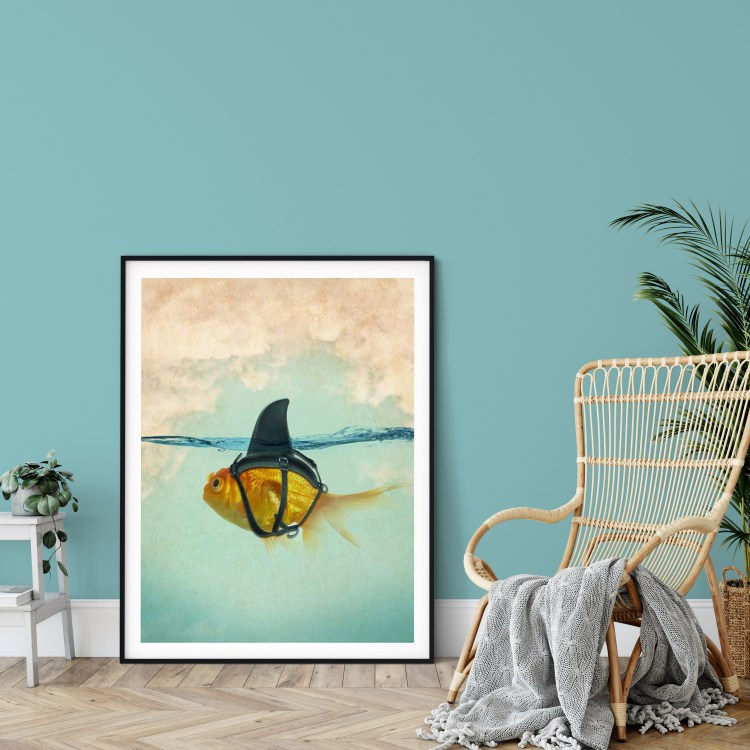 Showing Wall Paint PPG / Glidden Paint 2021 Color of the Year Aqua Fiesta PPG1147-4 and Accent Shades plus featured art Brilliant DISGUISE - Goldfish with a Shark Fin Art Print by Vin Zzep