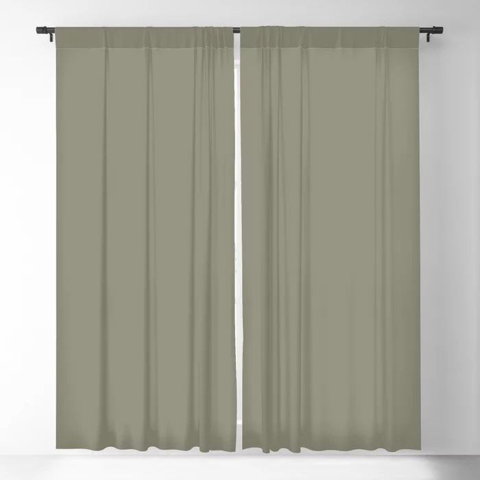 Pigeon Gray Green Solid Color Pairs Farrow and Ball 2021 Color of the Year Treron 292 Blackout Curtain