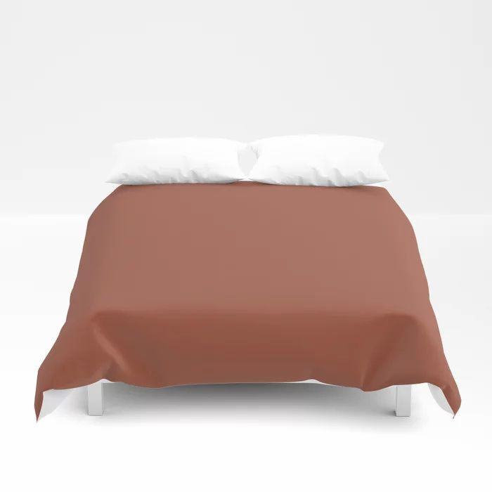 Red Clay Brown Solid Color Behr's 2021 Trending Color Kalahari Sunset MQ1-25 Duvet Cover