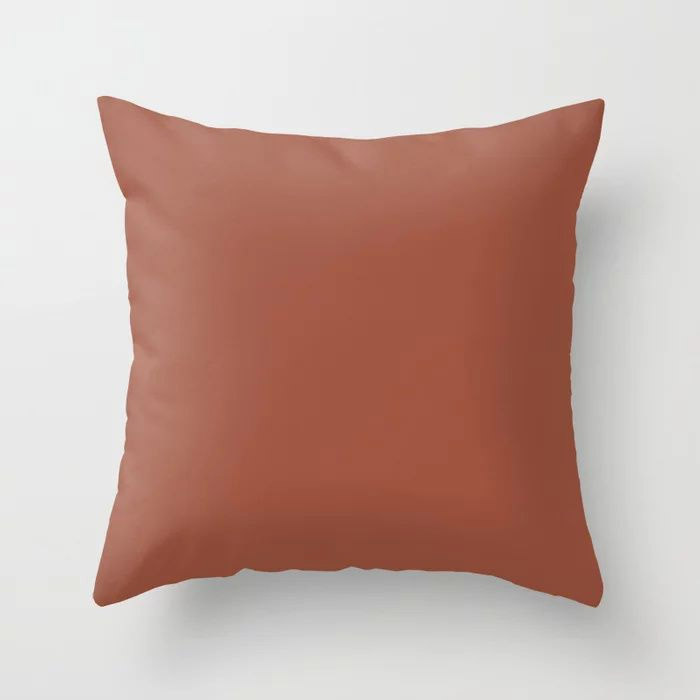 Red Clay Brown Solid Color Behr's 2021 Trending Color Kalahari Sunset MQ1-25 Throw Pillow