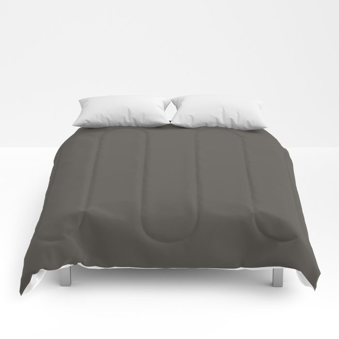 Root Brown Grey Solid Color Sherwin Williams 2021 Color of the Year Urbane Bronze SW 7048 Comforters