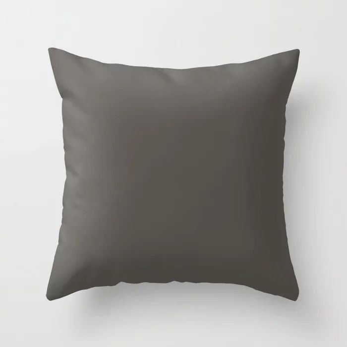 Root Brown Grey Solid Color Sherwin Williams 2021 Color of the Year Urbane Bronze SW 7048 Throw Pillow