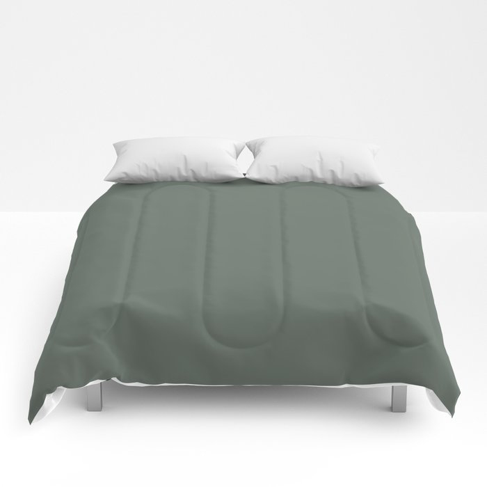 Rustic Forest Green Solid Color Pairs Farrow and Ball 2021 Color of the Year Green Smoke 47 Comforters