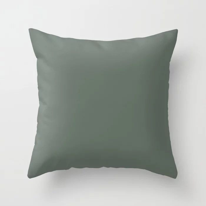 Rustic Forest Green Solid Color Pairs Farrow and Ball 2021 Color of the Year Green Smoke 47 Throw Pillow