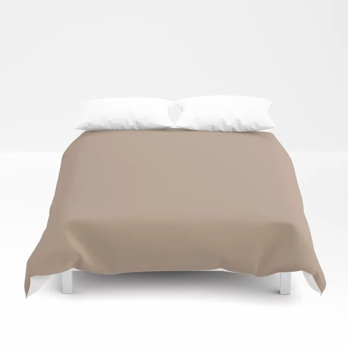 Soft Mid-Tone Beige Solid Color Pairs To Behr's 2021 Trending Color Sierra N240-4 Duvet Cover