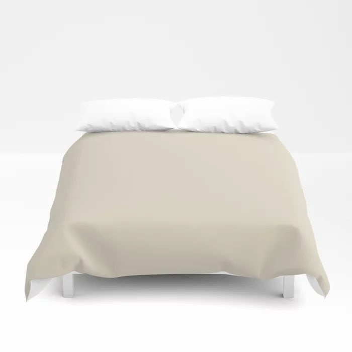 Softened Khaki Light Brown Solid Color Pairs To Valspars 2021 Color of the Year Unforgettable 7003-2 Duvet Cover