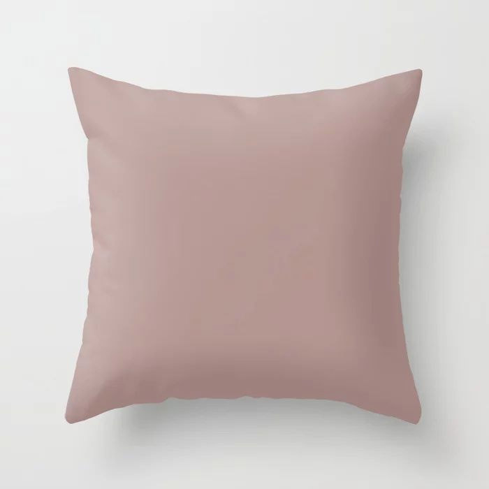 Softened Mauve Pink Solid Color Pairs To Valspars 2021 Color of the Year Cherry Taupe 1005-10A Throw Pillow