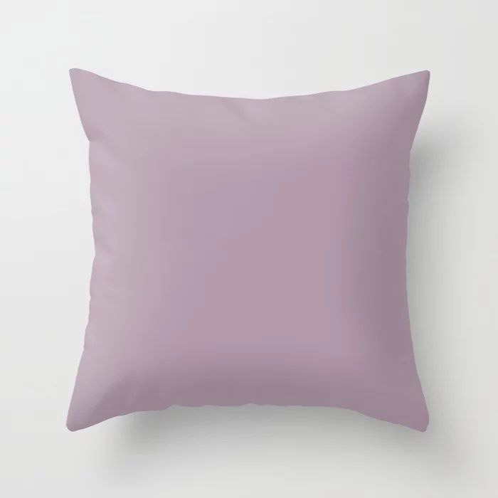 Spring Flowers Purple Solid Color Pairs To Valspars 2021 Color of the Year Dusty Lavender 1002-7C Throw Pillow