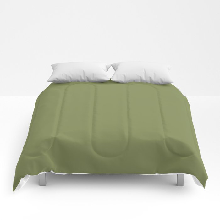 Summer Exploration Green Solid Color Pairs Farrow and Ball 2021 Color of the Year Sap Green W56 Comforters