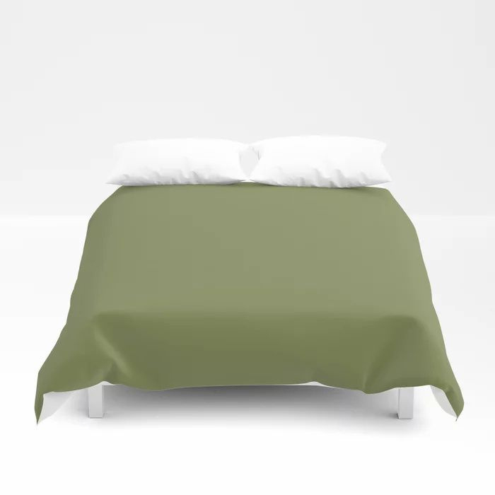 Summer Exploration Green Solid Color Pairs Farrow and Ball 2021 Color of the Year Sap Green W56 Duvet Cover