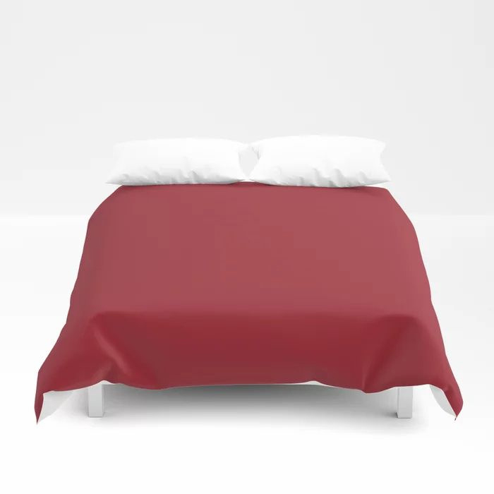 The Fire Within Red Solid Pairs Rustoleum's 2021 Color of the Year Satin Paprika Duvet Cover