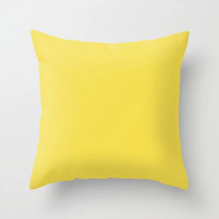 Vivid Yellow Solid Color Pairs Pantone 2021 Color of the Year Illuminating 13-0647 Throw Pillow