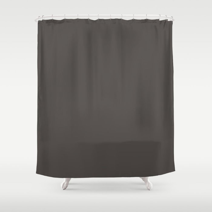 Dark Gray Brown Solid Color Pairs To Farrow and Ball Color of The Year Tanner's Brown No.255 Shower Curtain
