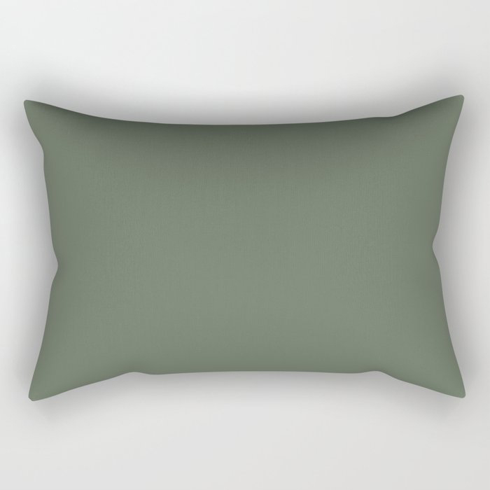 Dark Olive Green Solid Color Behr's 2021 Trending Color Royal Orchard PPU11-01 Rectangular Pillow