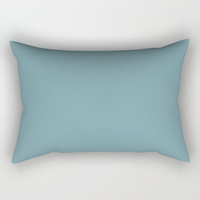 Dark Pastel Blue Gray Solid Color Behr's 2021 Trending Color Voyage PPU13-07 Rectangular Pillow