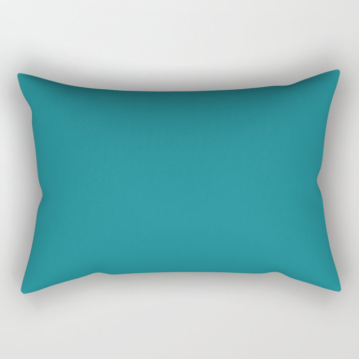 Dark Turquoise Solid Color Pairs To Behr's 2021 Trending Color Caribe PPU13-01 Rectangular Pillow